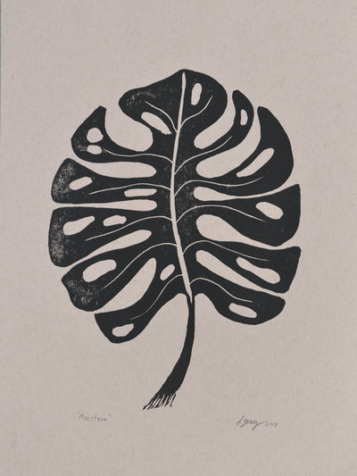 Monstera Block Print by San Diego Artist Jacki Geary