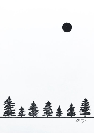 Winter Trees and Moon Block Print by San Diego Artist Jacki Geary