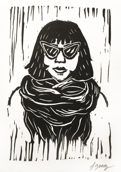 Woman with Sunglasses Block Print by San Diego Artist Jacki Geary