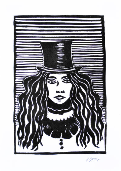 Woman in a Top Hat Block Print by San Diego Artist Jacki Geary