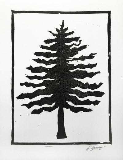 Winter Tree Block Print by San Diego Artist Jacki Geary